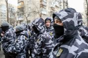 Feb. 1, 2018 - Kiev, Ukraine - National Militia fighters attend a protest.