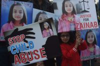 Lahore, Pakistan - Child protesters hold a #JusticeforZainab protest to stop child abuse after the rape and murder of seven-year-old Zainab Ansari.